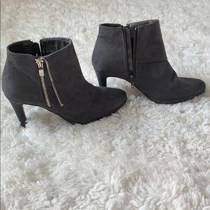 Suede grey zip up booties